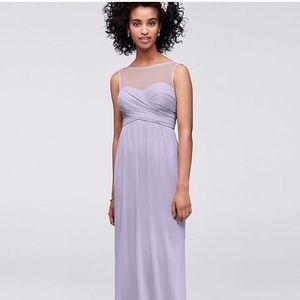 David's bridal • long illusion bridesmaid dress
